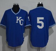 Wholesale Cheap Mitchell And Ness 1989 Royals #5 George Brett Blue Throwback Stitched MLB Jersey