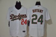 Wholesale Cheap Men's Los Angeles Dodgers #24 Kobe Bryant White With Green Name Stitched MLB Flex Base Nike Jersey