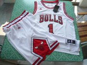 Wholesale Cheap Chicago Bulls 1 Derek Rose white color swingman Basketball Suit
