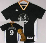 Wholesale Cheap Golden State Warriors #9 Andre Iguodala Revolution 30 Swingman 2014 New Black Short-Sleeved Jersey With 2015 Finals Champions Patch Patch