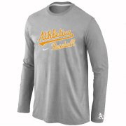 Wholesale Cheap Oakland Athletics Long Sleeve MLB T-Shirt Grey