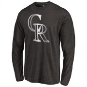 Wholesale Cheap Colorado Rockies Platinum Collection Long Sleeve Tri-Blend T-Shirt Black