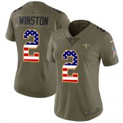 Wholesale Cheap Nike Saints #2 Jameis Winston Olive/USA Flag Women's Stitched NFL Limited 2017 Salute To Service Jersey