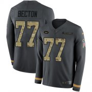 Wholesale Cheap Nike Jets #77 Mekhi Becton Anthracite Salute to Service Men's Stitched NFL Limited Therma Long Sleeve Jersey