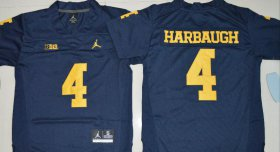 Wholesale Cheap Men\'s Michigan Wolverines #4 Jim Harbaugh Navy Blue Stitched NCAA Brand Jordan College Football Jersey