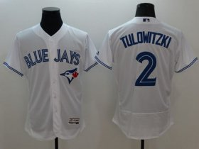 Wholesale Cheap Blue Jays #2 Troy Tulowitzki White Flexbase Authentic Collection Stitched MLB Jersey