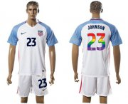 Wholesale Cheap USA #23 Johnson White Rainbow Soccer Country Jersey
