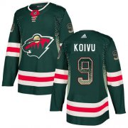 Wholesale Cheap Adidas Wild #9 Mikko Koivu Green Home Authentic Drift Fashion Stitched NHL Jersey