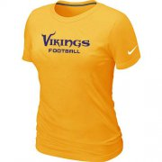 Wholesale Cheap Women's Nike Minnesota Vikings Sideline Legend Authentic Font T-Shirt Yellow