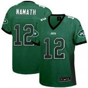 Wholesale Cheap Nike Jets #12 Joe Namath Green Team Color Women's Stitched NFL Elite Drift Fashion Jersey