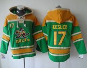 Wholesale Cheap Ducks #17 Ryan Kesler Green Sawyer Hooded Sweatshirt Stitched NHL Jersey