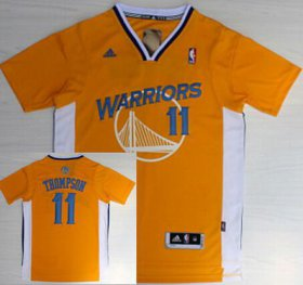 Wholesale Cheap Golden State Warriors #11 Klay Thompson Revolution 30 Swingman Yellow Short-Sleeved Jersey
