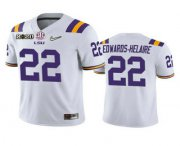 Wholesale Cheap Men's LSU Tigers #22 Clyde Edwards-Helaire White 2020 National Championship Game Jersey
