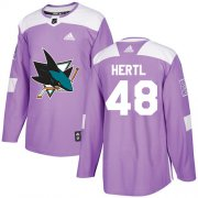 Wholesale Cheap Adidas Sharks #48 Tomas Hertl Purple Authentic Fights Cancer Stitched Youth NHL Jersey