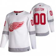 Wholesale Cheap Detroit Red Wings Custom White Men's Adidas 2020-21 Reverse Retro Alternate NHL Jersey