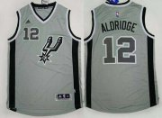 Wholesale Cheap Men's San Antonio Spurs #12 LaMarcus Aldridge Revolution 30 Swingman 2015 New Gray Jersey