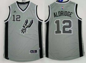Wholesale Cheap Men\'s San Antonio Spurs #12 LaMarcus Aldridge Revolution 30 Swingman 2015 New Gray Jersey