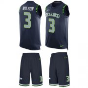 Wholesale Cheap Nike Seahawks #3 Russell Wilson Steel Blue Team Color Men's Stitched NFL Limited Tank Top Suit Jersey