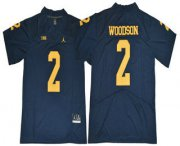 Wholesale Cheap Men's Michigan Wolverines #2 Charles Woodson Navy Blue 2017 College Football Stitched Brand Jordan NCAA Jersey