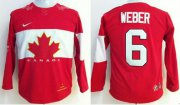Wholesale Cheap Team Canada 2014 Olympic #6 Shea Weber Red Stitched Youth NHL Jersey