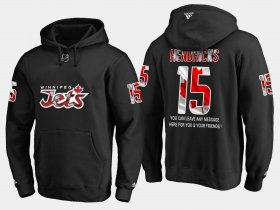 Wholesale Cheap Jets #15 Matt Hendricks NHL Banner Wave Usa Flag Black Hoodie
