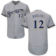 Wholesale Cheap Brewers #12 Aaron Rodgers Grey Flexbase Authentic Collection Stitched MLB Jersey