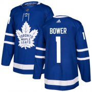 Wholesale Cheap Adidas Maple Leafs #1 Johnny Bower Blue Home Authentic Stitched NHL Jersey