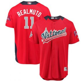 Wholesale Cheap marlins #11 JT Realmuto Red 2018 All-Star National League Stitched MLB Jersey