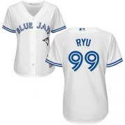Wholesale Cheap Blue Jays #99 Hyun-Jin Ryu White Home Women's Stitched MLB Jersey