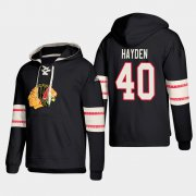 Wholesale Cheap Chicago Blackhawks #40 John Hayden Black adidas Lace-Up Pullover Hoodie