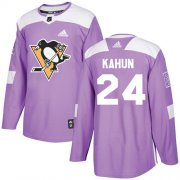 Wholesale Cheap Adidas Penguins #24 Dominik Kahun Purple Authentic Fights Cancer Stitched Youth NHL Jersey