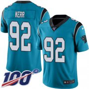 Wholesale Cheap Nike Panthers #92 Zach Kerr Blue Youth Stitched NFL Limited Rush 100th Season Jersey