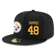 Wholesale Cheap Pittsburgh Steelers #48 Bud Dupree Snapback Cap NFL Player Black with Gold Number Stitched Hat