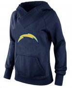 Wholesale Cheap Women's Los Angeles Chargers Logo Pullover Hoodie Navy Blue-1