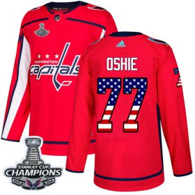 Wholesale Cheap Adidas Capitals #77 T.J. Oshie Red Home Authentic USA Flag Stanley Cup Final Champions Stitched Youth NHL Jersey