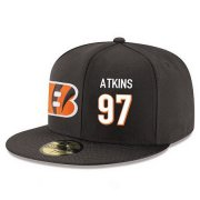 Wholesale Cheap Cincinnati Bengals #97 Geno Atkins Snapback Cap NFL Player Black with White Number Stitched Hat