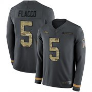 Wholesale Cheap Nike Broncos #5 Joe Flacco Anthracite Salute to Service Men's Stitched NFL Limited Therma Long Sleeve Jersey