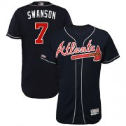 Wholesale Cheap Braves #7 Dansby Swanson Navy Blue Flexbase Authentic Collection Stitched MLB Jersey