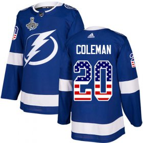 Cheap Adidas Lightning #20 Blake Coleman Blue Home Authentic USA Flag Youth 2020 Stanley Cup Champions Stitched NHL Jersey