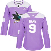 Wholesale Cheap Adidas Sharks #9 Evander Kane Purple Authentic Fights Cancer Women's Stitched NHL Jersey