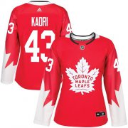 Wholesale Cheap Adidas Maple Leafs #43 Nazem Kadri Red Team Canada Authentic Women's Stitched NHL Jersey
