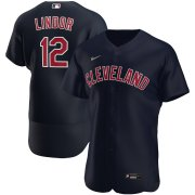 Wholesale Cheap Cleveland Indians #12 Francisco Lindor Men's Nike Navy Alternate 2020 Authentic Player MLB Jersey