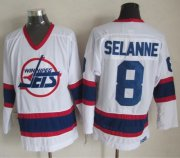Wholesale Jets #8 Teemu Selanne White CCM Throwback Stitched NHL Jersey