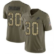 Wholesale Cheap Nike Lions #30 Jeff Okudah Olive/Camo Youth Stitched NFL Limited 2017 Salute To Service Jersey