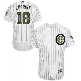 Wholesale Cheap Cubs #18 Ben Zobrist White(Blue Strip) Flexbase Authentic Collection Memorial Day Stitched MLB Jersey