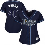 Wholesale Cheap Rays #40 Wilson Ramos Dark Blue Alternate Women's Stitched MLB Jersey