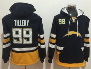 Wholesale Cheap Nike Chargers #99 Jerry Tillery Navy Blue/Gold Name & Number Pullover NFL Hoodie