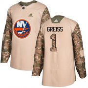 Wholesale Cheap Adidas Islanders #1 Thomas Greiss Camo Authentic 2017 Veterans Day Stitched NHL Jersey