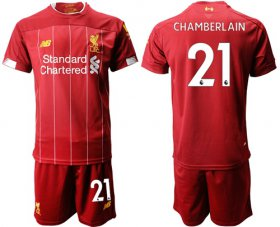 Wholesale Cheap Liverpool #21 Chamberlain Red Home Soccer Club Jersey