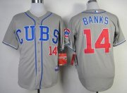 Wholesale Cubs #14 Ernie Banks Grey Alternate Road Cool Base Stitched Baseball Jersey